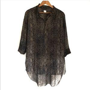 Aritzia Wilfred Silk Snakeprint Shirt.